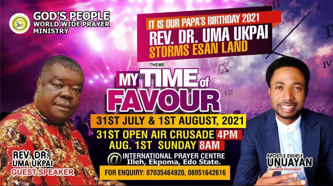 Rev. Dr. Uma Ukpai storms Esan Land for Apostle Ehijele Unuayan's Birthday