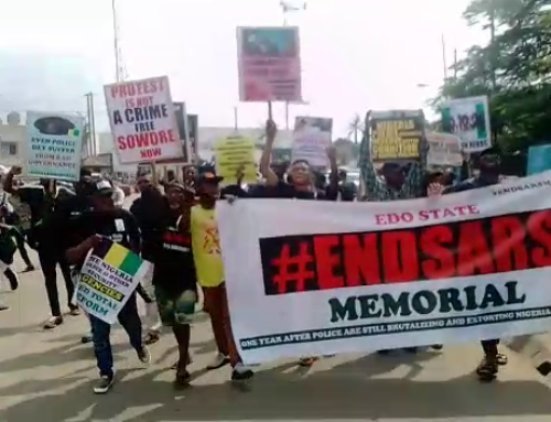 #EndSARS Memorial: Some Youths across some states hold procession to mark one year anniversary in Nigeria